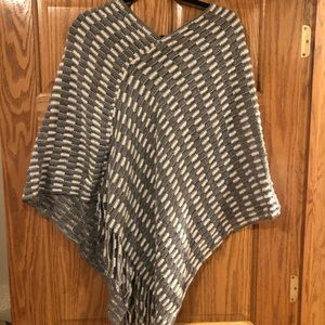 Sweaters - Grey and white knit poncho